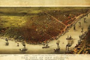 New Orleans, Louisiana - Panoramic Map by Lantern Press