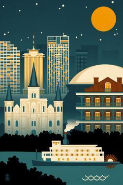 New Orleans, Louisiana - Retro Skyline (no text) by Lantern Press