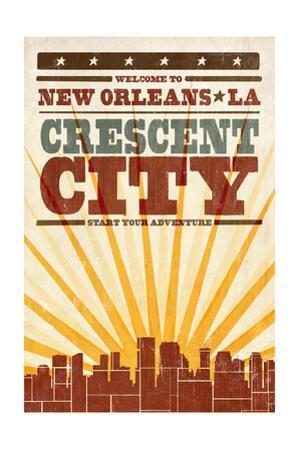 New Orleans, Louisiana - Skyline and Sunburst Screenprint Style by Lantern Press