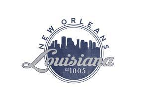 New Orleans, Louisiana - Skyline Seal (Blue) by Lantern Press