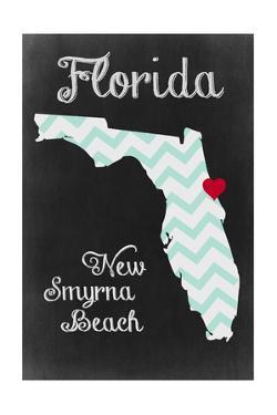 New Smyrna Beach, Florida - Chalkboard State Heart (red heart) by Lantern Press