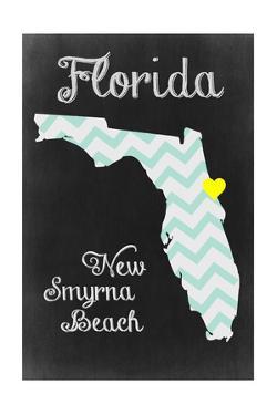 New Smyrna Beach, Florida - Chalkboard State Heart by Lantern Press