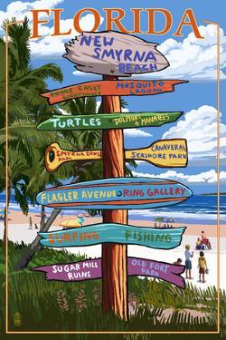New Smyrna Beach, Florida - Destinations Signpost by Lantern Press