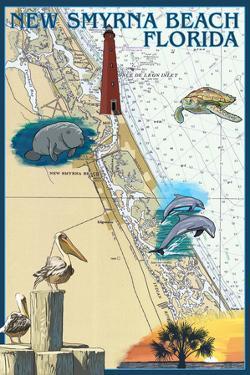 New Smyrna Beach, Florida - Nautical Chart by Lantern Press
