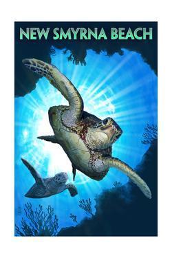 New Smyrna Beach, Florida - Sea Turtle Diving by Lantern Press