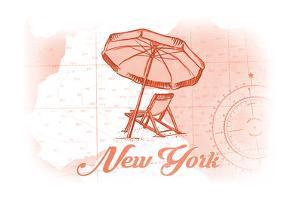 New York - Beach Chair and Umbrella - Coral - Coastal Icon by Lantern Press