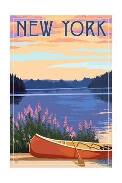 New York - Canoe and Lake by Lantern Press