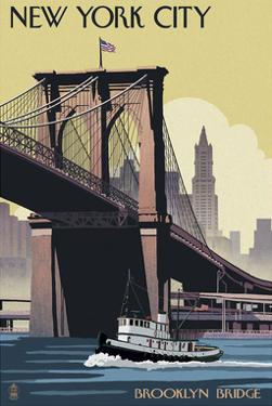 New York City - Brooklyn Bridge by Lantern Press