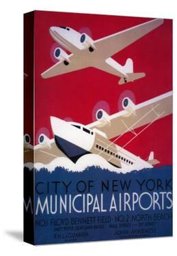 New York City Municipal Airport Vintage Poster - New York, NY by Lantern Press