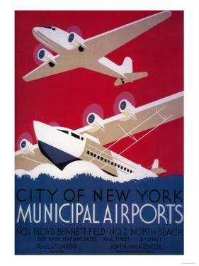 New York City Municipal Airport Vintage Poster - New York, NY by Lantern Press