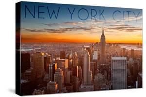 New York City, New York - Aerial Skyline at Sunset by Lantern Press