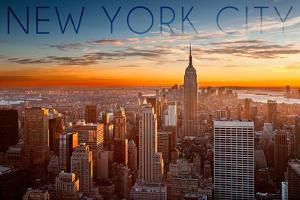 New York City, New York - Aerial Skyline at Sunset by Lantern Press