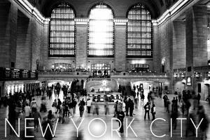 New York City, New York - Black and White Grand Central Station by Lantern Press