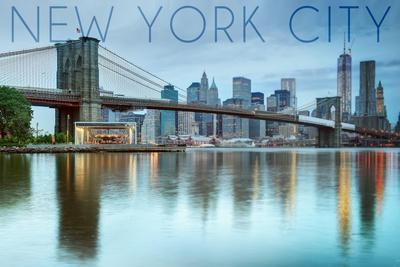New York City, New York - Blue Skyline and Bridge