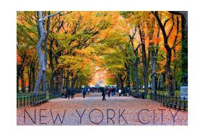 New York City, New York - Central Park in Autumn by Lantern Press