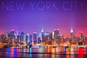 New York City, New York - Colorful Skyline Lights by Lantern Press