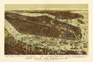 New York City, New York - Panoramic Map by Lantern Press