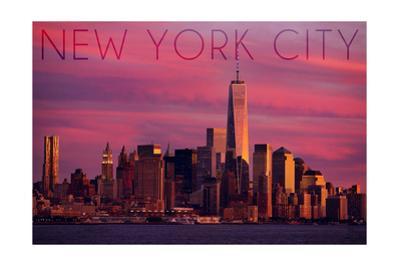 New York City, New York - Pink Skyline by Lantern Press