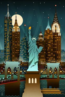 New York City, New York - Retro Skyline (no text) by Lantern Press