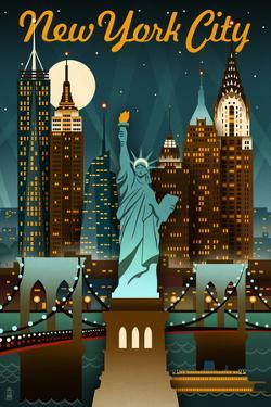New York City, New York - Retro Skyline by Lantern Press