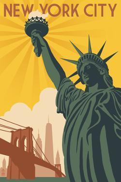New York City, New York - Statue of Liberty and Bridge by Lantern Press