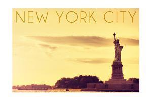 New York City, New York - Statue of Liberty and Yellow Skyline by Lantern Press
