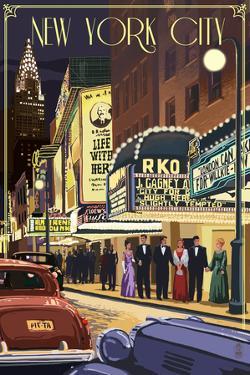 New York City, New York - Theater Scene by Lantern Press