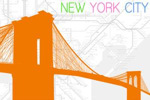 New York City, NY - Neon Brooklyn Bridge by Lantern Press