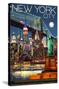 New York City, NY - Skyline at Night by Lantern Press