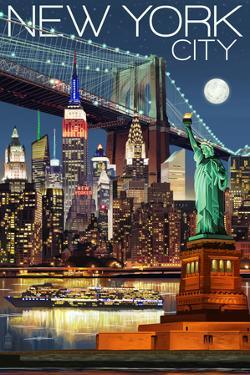 New York City, NY - Skyline at Night by Lantern Press