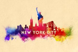 New York City - Skyline Abstract (Cream) by Lantern Press