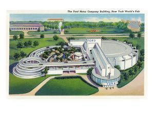 New York, New York - Aerial View of Ford Building at World's Fair by Lantern Press