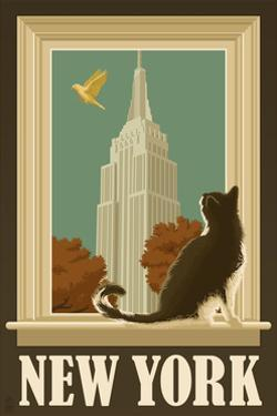 New York, New York - Empire State Buildin and Cat Window by Lantern Press