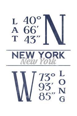 New York, New York - Latitude and Longitude (Blue) by Lantern Press