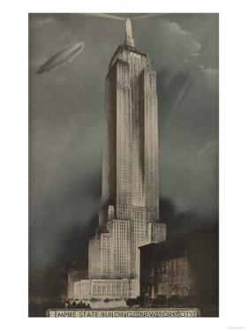 New York, NY - Empire State Building and Blimp by Lantern Press