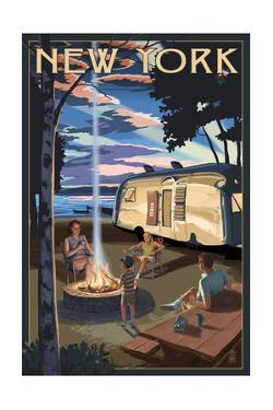 New York - Retro Camper and Lake by Lantern Press