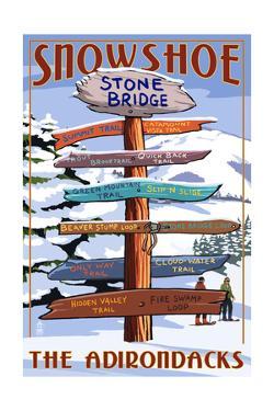 New York - the Adirondacks - Stone Bridge Snowshoe Signpost by Lantern Press