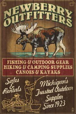Newberry, Michigan - Moose Outfitters by Lantern Press