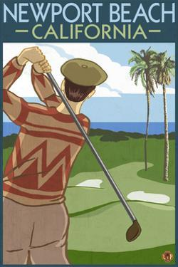 Newport Beach, California - Golfer by Lantern Press