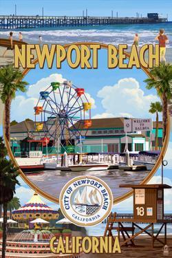 Newport Beach, California - Newport Beach Montage by Lantern Press
