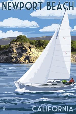 Newport Beach, California - Sailboat Scene by Lantern Press