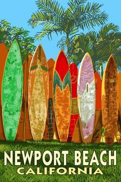 Newport Beach, California - Surfboard Fence by Lantern Press