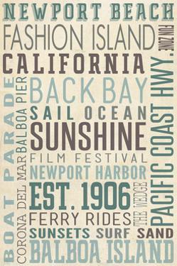 Newport Beach, California - Typography (#3) by Lantern Press