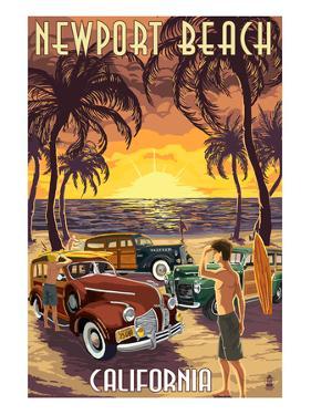 Newport Beach, California - Woodies and Sunset by Lantern Press