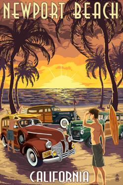 Newport Beach, California - Woodies and Sunset by Lantern Press