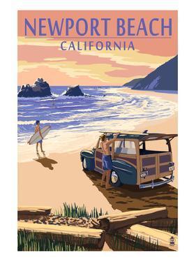 Newport Beach, California - Woody on Beach by Lantern Press