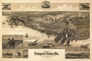 Newport News, Virginia - Panoramic Map by Lantern Press