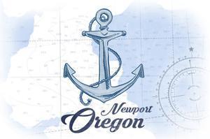 Newport, Oregon - Anchor - Blue - Coastal Icon by Lantern Press