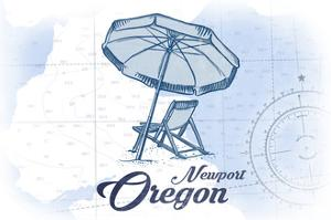 Newport, Oregon - Beach Chair and Umbrella - Blue - Coastal Icon by Lantern Press