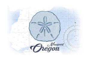 Newport, Oregon - Sand Dollar - Blue - Coastal Icon by Lantern Press